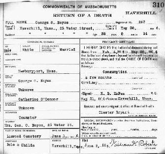 George O. Noyes return of death certificate